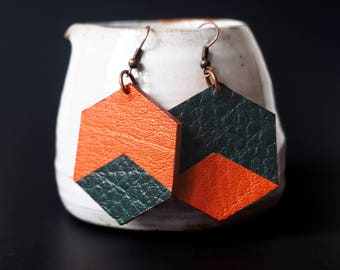 Hexagon earrings in leather