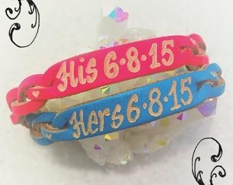Date Couple Bracelets Roman Numerals Engraved Leather Bracelets, Custom, Couple Bracelets, His And Hers, Anniversary, Unisex Bracelets