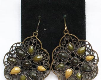 PE # 112 Vintage Antique Gold Tone Baroque Style Filigree Dangle Earrings with Olive Green and Mustard Yellow Cabochon Beads