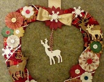 Beautiful handmade heart shaped Christmas wreath