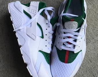 On Sale Gucci Inspired Nike huaraches custom (white)