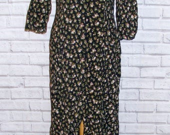 Size 10 vintage 80s 3/4 sleeve button flare maxi dress black floral print (HS43)