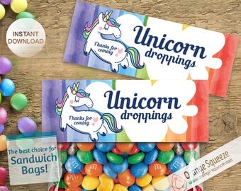 Thank you Unicorn Droppings INSTANT DOWNLOAD Treat Topper Candy Bag Topper printable unicorn birthday party favors