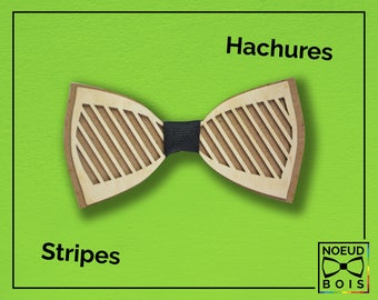 Wooden bow tie, Stripes pattern, laser cut and engraved, Masonite and Cherrywood, other colors available, customizable, cratch, zebra, line