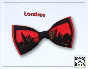 Wooden bow tie London Pattern, road trip collection, laser cut, engraved, customizable, city outline, travel, around the world , red & black