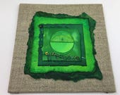 Emerald Forest Green Mini Collage Wall Art ... Unique ... Handmade ... Ready to hang