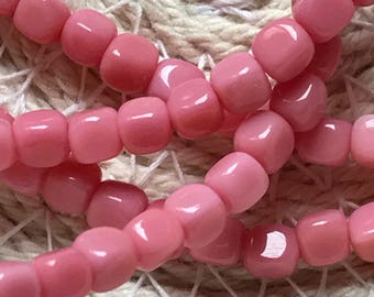 Czech Glass Cube Beads, 4mm, Opaque Pink, Center Hole, Qty. 100 Beads/Strand