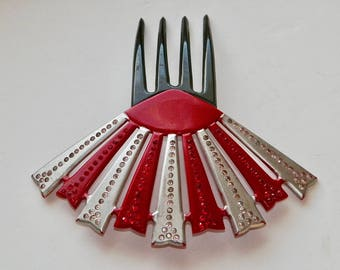Vintage ART DECO Hair Comb Bright Red Silver Black Fan w RS Hair Ornament Hair Accessory Hair Jewelry
