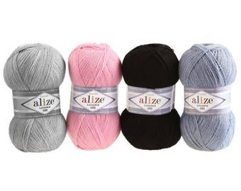 5 x 100 g yarn ALIZÉ Lanagold 800 49% wool, free choice of color (color: denim melange)