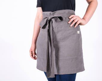 Linen apron,Short Linen Waitress Apron with pockets, wrap apron,cafe apron, natural flax apron,cooking apron, workshop apron, Christmas Gift
