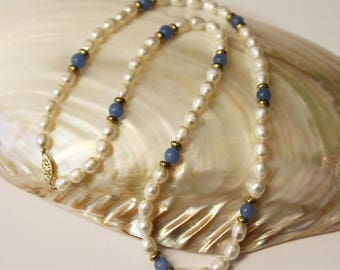Blue Quartz Freshwater Pearls Necklace 20 Inches SKU BQ20MOPSGY