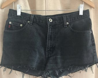 90's Guess High Waisted Black Denim Cut Off Shorts size 29