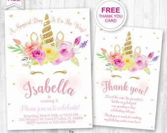 Unicorn 1st birthday invite, Unicorn party invitation, First Bday Girl, Floral unicorn, A magical day, Gold glitter unicorn,