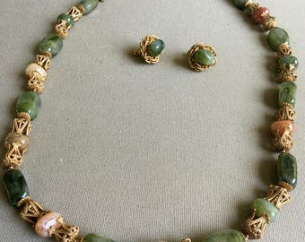 Miriam Haskell Vintage Necklace & Earring Set