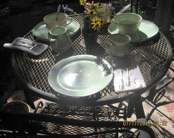 soft green plates and bowls, chili bowls and plates,ceramic plate, soup and salad set,