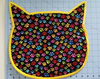 Cotton Quilted Cat Shaped Cat Placemat for food and Water/Paws/Neon Colors