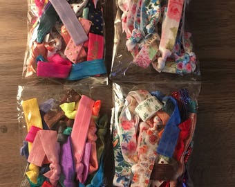 Hair Tie Grab Bags - Elastics FOE Mix and Match Floral, Solid, Foil and More