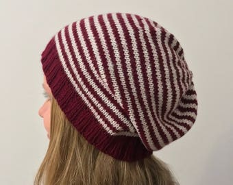 """Striped Beanie-knit beanie """"Candy cane"""" in red/white from acrylic-vegan"""