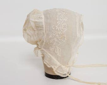 antique Edwardian girl's organdy and lace ivory bonnet