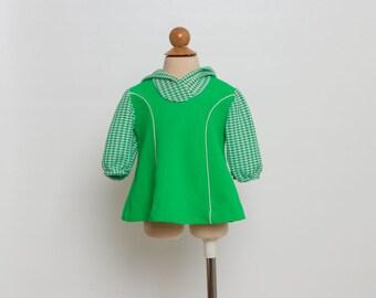 vintage 70s girls hooded top green