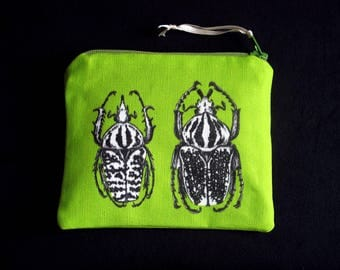 Small pouch wallet, printed fabric tobacco pouch, wallet color bugs beetles illustration little Nature Paris