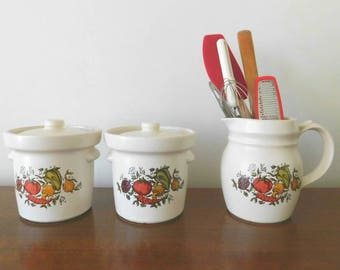 Spice of Life Kitchen Storage Containers and Small Beverage Pitcher by McCoy Pottery 1970s SHIPPING INCLUDED