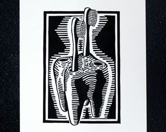 Dental Hygiene linocut print