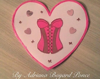Card heart Corset / Bustier pink