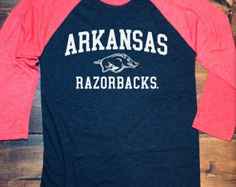 Arkansas Razorbacks Raglan • Razorback Shirt • Arkansas Shirt