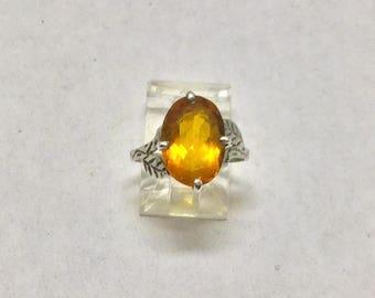 sterling silver citrine ring #106