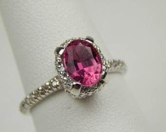 14k gold tourmaline diamond ring #10016