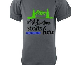 Adventure Starts Here Bodysuit, Infant Bodysuit, New Baby Gift, New Mom Gift, Baby Shower Gift, First Birthday Gift, Baby Gift, First Gift