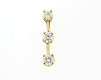 14K Yellow Gold 0.70 CTW 3-Stone Diamond Drop Ladies Pendant