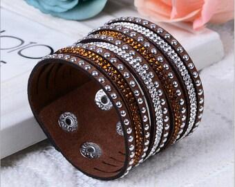 Vegan Bling Jewelry, Vegan Leather Bracelet, Vegan Leather Jewelry,Bling Bracelet, Bling Cuff Bracelet, Faux Leather Bracelet,Faux Bracelet