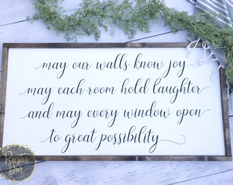 May Our Walls Know Joy... | Fixer Upper Inspired Wood Sign | Handmade Wooden Sign