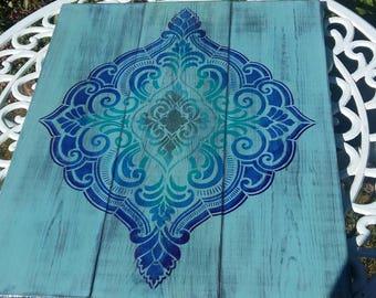 Garden wall art,moroccan garden,outside decor,blue picture