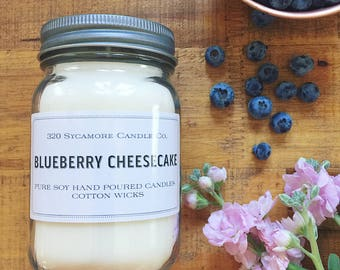 16 oz. Blueberry Cheesecake Hand Poured Pure Soy Candle with Cotton Wick