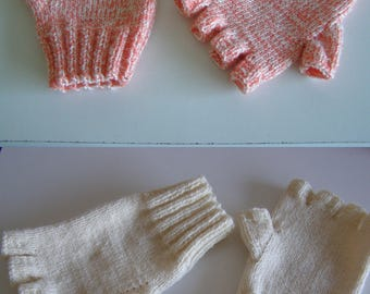 wool mittens for adults, cream tones, orange tone