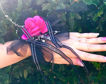 Hot Pink and Black Bridal/Formal Wrist Corsage