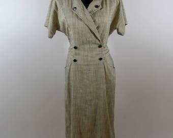 Vintage Damon II 80s Striped Midi Dress sz 6/8 Secretary
