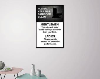 Funny Bathroom Poster Printable - 11 x 17