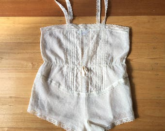 Off-white semi sheer lace teddy