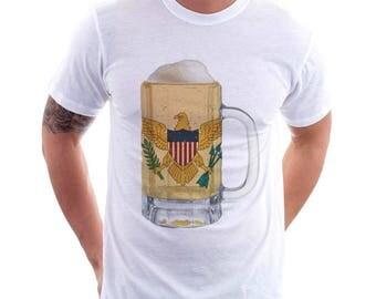 US Virgin Islands Country Flag Beer Mug Tee, Home Tee, Country Pride, Country Tee, Beer Tee, Beer T-Shirt, Beer Thinkers, Beer Lovers Tee