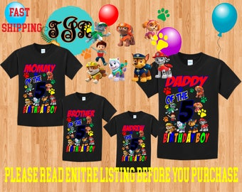 PAW PATROL Boy birthday Family BLACK Theme Shirts Vacation Long Sleeve Short Sleeve Tank tops Toddler marshall ryder