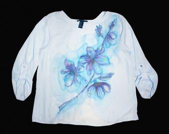Open back top, Open back shirt, Blue flowers, flower shirt, flower blouse, floral shirt, floral blouse, Blue flowers shirt, Blue flowers