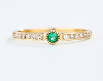 Simple Emerald engagement ring Half Eternity band Thin Dainty wedding ring 14K Gold Channel set delicate Row diamond ring Promise Stacking