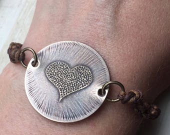 etched brass heart bracelet