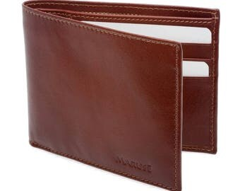 Leather Credit Card Wallet (Brown) - Made in Italy