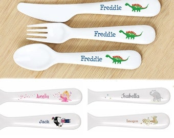 PERSONALISED Childrens CUTLERY Set. Birthday or Christening Gift. PLASTIC Cutlery For Baby, Toddler, Kids. Dinosaur, Fairy, Pirate and more
