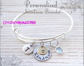 Personalized Bangle Bracelet, Kindness Bracelet, Customized Bracelet, Handstamped Bracelet
